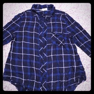 Navy blue plaid button up rayon shirt